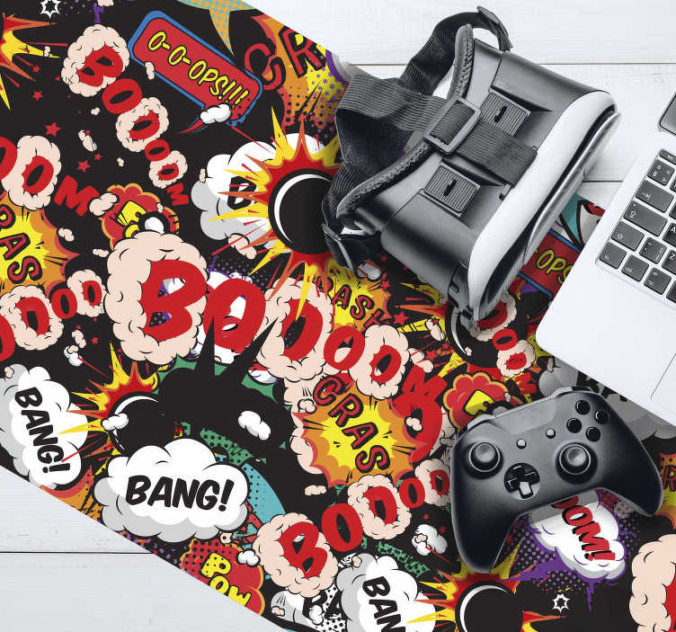 TenStickers. Boom gaming vinyl mouse pad. Always play in style with this spectacular gaming mouse pad with a pop art style pattern with comic book motifs. High quality.