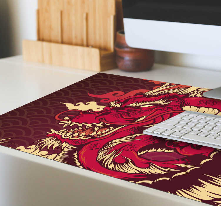 TenStickers. Fire Dragon anime vinyl mouse pad. Make your gaming friends jealous and decorate your desktop in an exclusive and unique way with this spectacular modern game mouse pad!