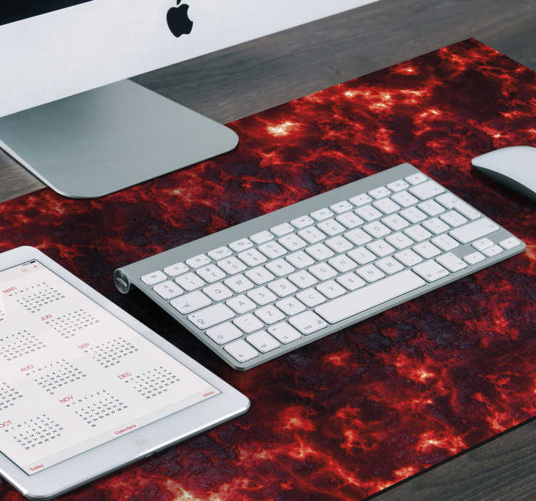TenStickers. Lava gaming vinyl mouse pad. Make your gamers friends jealous and decorate your desk in an exclusive way with this gaming mouse pad with a red lava pattern on a black background.