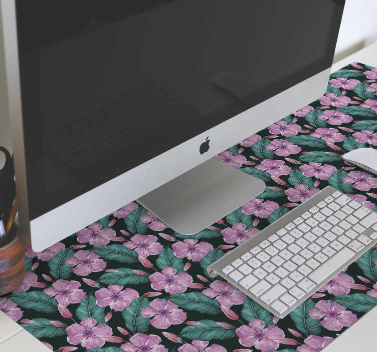 TenVinilo. Alfombrilla de ratón original flores tropicales . Dale un toque de naturaleza a la decoración de tu escritorio con esta maravillosa alfombrilla de ratón floral con un patrón de flores tropicales rosadas
