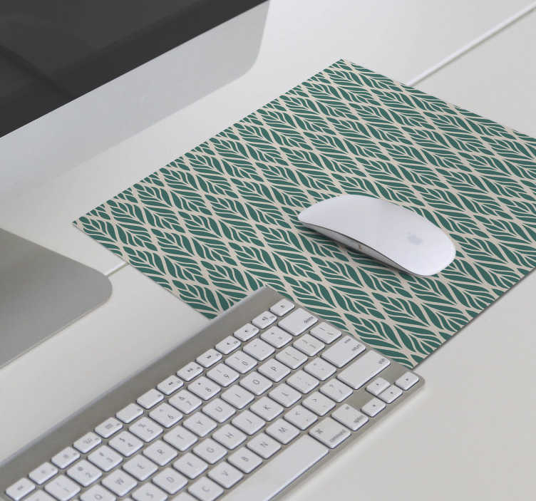 TenStickers. Ethnic floral pattern floral mouse mat. Wonderful floral mouse pad with a pattern of green leaves on a beige background in an ethnic style that will make your computer work much easier!