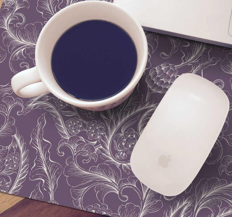 TenStickers. 보라색 페이즐리 꽃 마우스 매트. 자주색 꽃 무늬의 페이즐리 마우스 패드를 사용하면 컴퓨터 마우스를 훨씬 더 쉽게 사용할 수 있습니다!