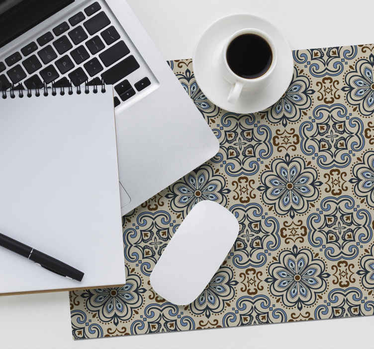 TenStickers. Floral tile floral mouse mat. Decorate your desk with this beautiful tile mouse pad with a pattern of floral tiles in soft colors that anyone will love.