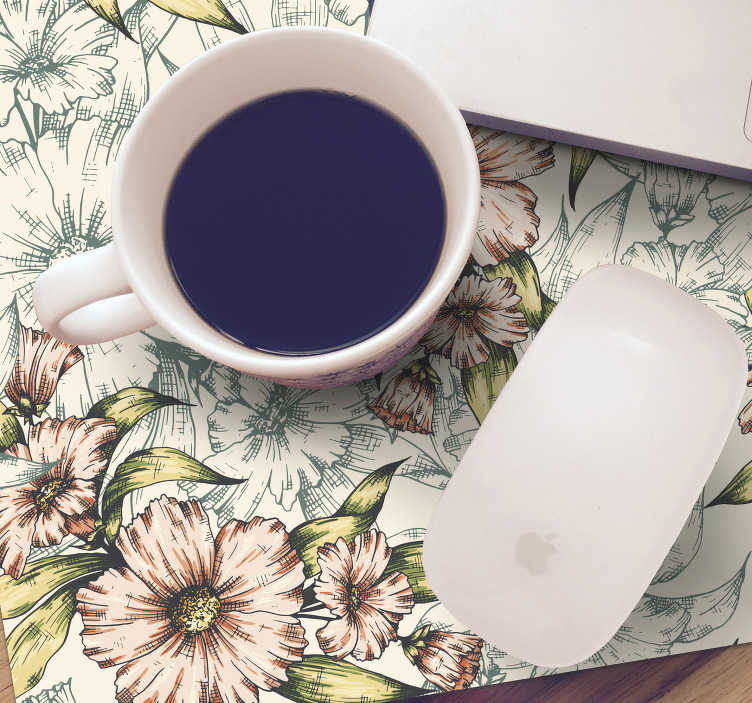 TenStickers. Vintage flowers floral mouse mat. For those who love vintage decorations, this vintage mouse pad with a floral pattern is certainly the ideal decoration for your desk.