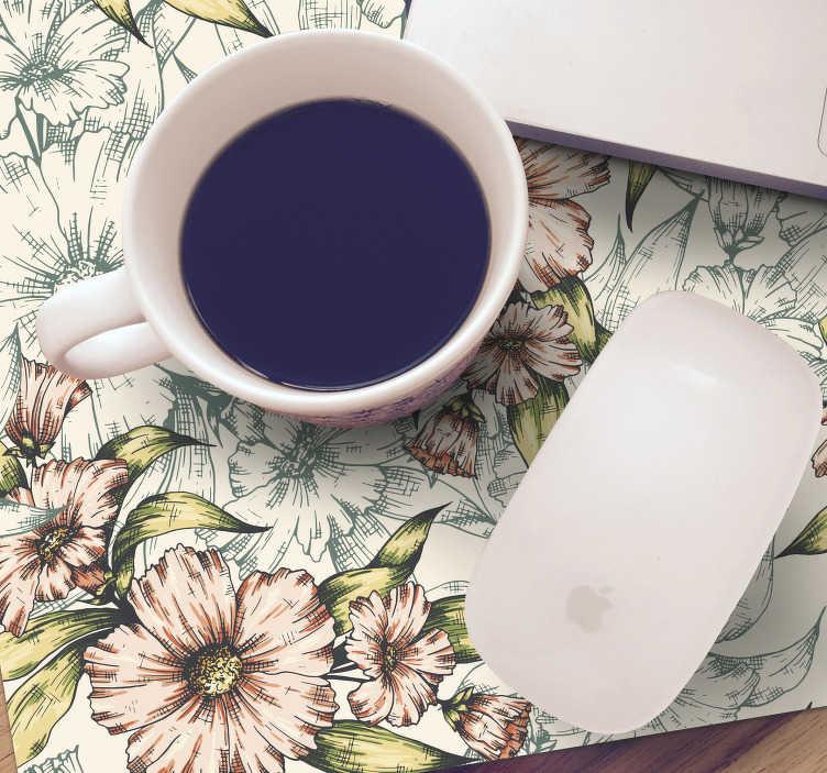 TenStickers. De mat van vintage bloemen bloemenmuis. Voor de liefhebbers van vintage decoraties is deze vintage muismat met bloemmotief zeker de ideale decoratie voor op je bureau.