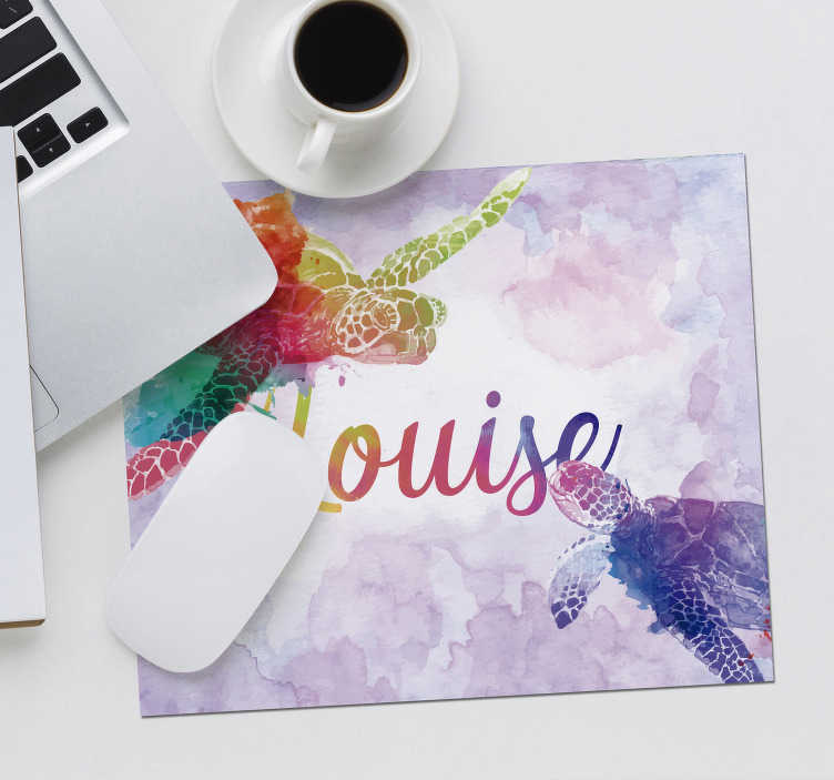 TenStickers. Colorful turtles with name personalised mouse pad. Come check our colourful mousemat with name that you can customize just how you prefer. We deliver to your home no matter where you live.