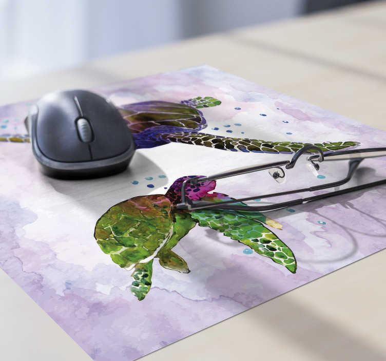 TenStickers. Colorful watercolour turtles mouse mat. Check out our colorful mousepad that is made with watercolors and it has turtles. All the monocolour products are available in many colors.