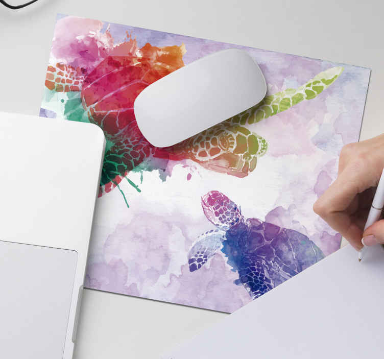 TenStickers. Watercolour turtle mouse mat. Come take a look at our colourful watercolour mousepad with turtles that catches everyones attention. You can customize the products how you prefer.