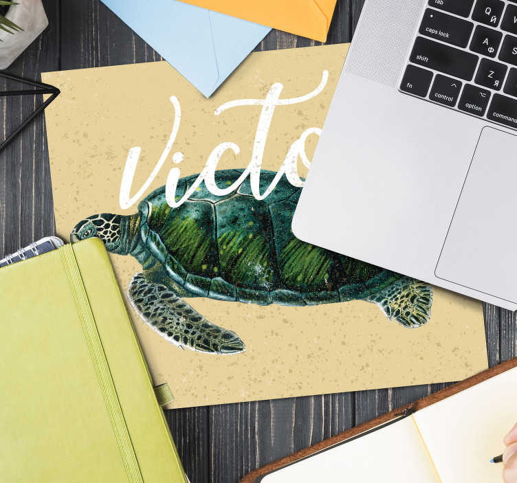 TenStickers. Sea turtle with name personalised vinyl mouse mat. Check out our personalized mousepads with name that have beautifully drawn turtle on them. You can personalize them how you prefer.