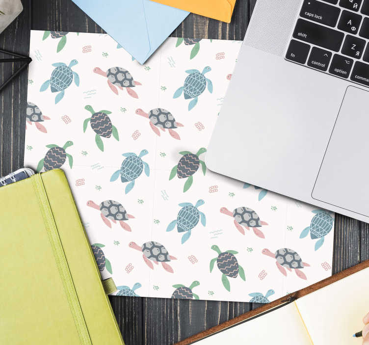 TenStickers. Soft color turtles mouse mat. Look at our original turtle mousepad made with soft colors that will brighten your room. We have discounts available on the website.