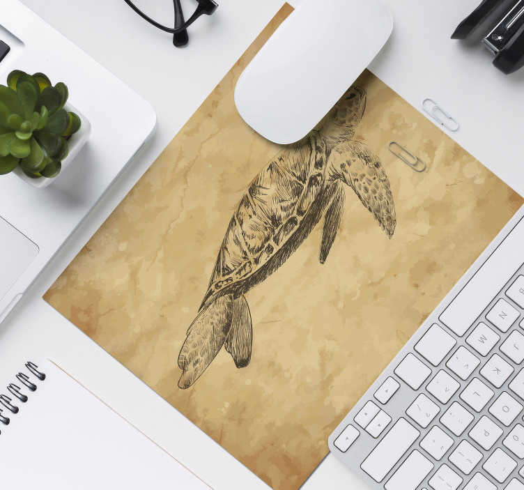 TenStickers. Turtle drawing image mouse mat. Make sure to look at our gorgeous original mousepad with a turtle drawing which is customizable. The product is home delivered.
