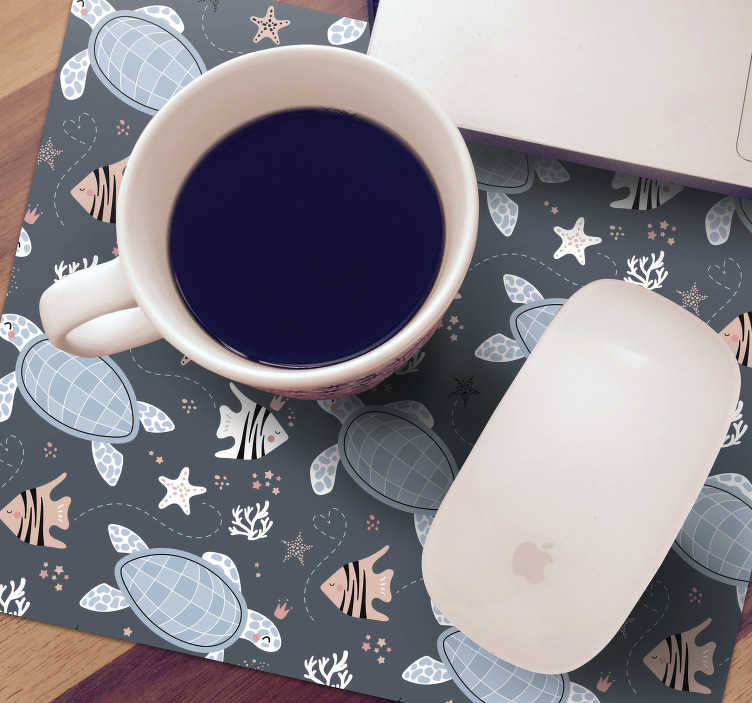 TenStickers. Turtles and Fish Undersea mouse mat. make sure to check out our beautiful turtle and fish under the water mousepad which has a blue theme. The product has discounts available.