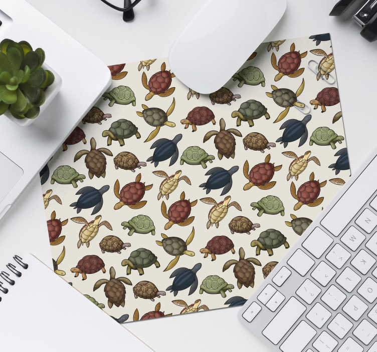 TenStickers. variety of turtles mouse mat. Check out our fabulous different varieties of turtles mousepad that has different shades of green. It leaves zero residues upon removal.