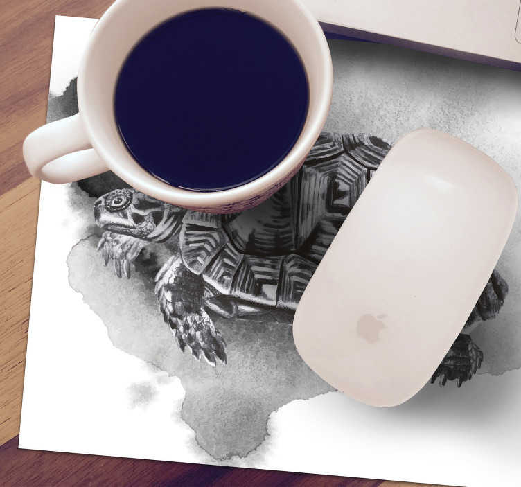 TenStickers. Vintage Turtle Image mouse mat. Check out our beautiful vintage turtle mousepad that is black and white. It will be perfect for your office. It is Extremely long-lasting material.