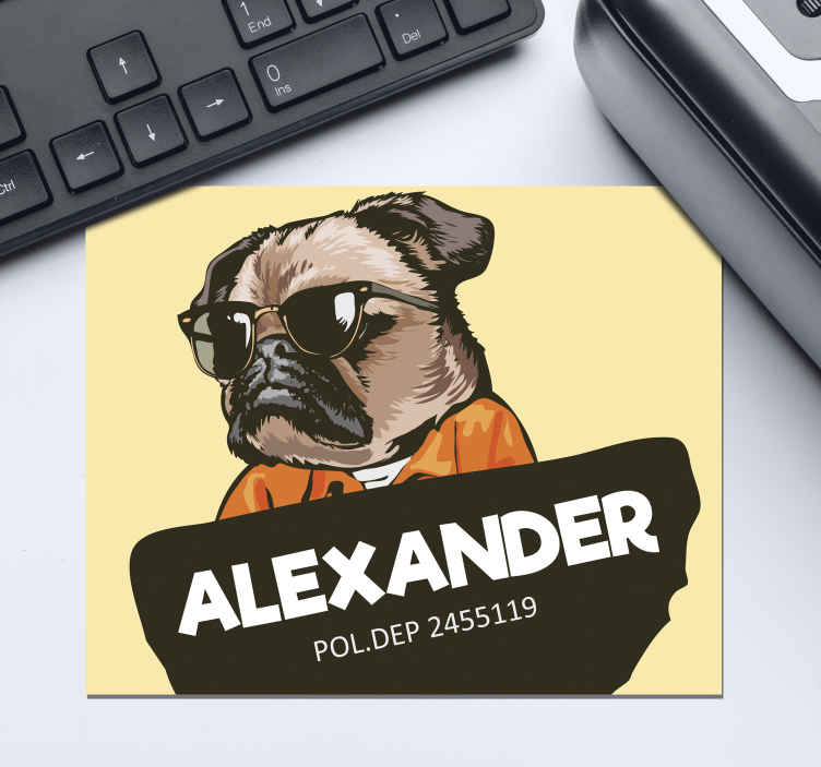TenStickers. Cartoon Pug custom mousemats. Personalised mouse mat which  features a cartoon image of a pug wearing sunglasses and jumpsuit with your name in front. Personalised.