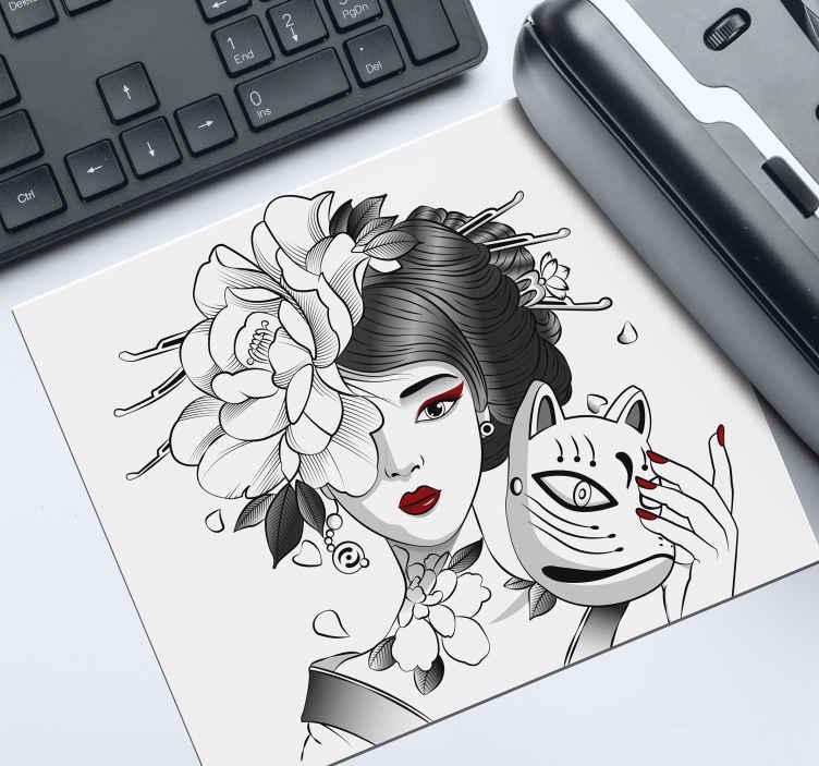 TenStickers. Muismat anime Gothic anime meisje. Anime muismat met een overweldigende afbeelding van een animemeisje met een bloem in haar haar, die een kat vasthoudt. Extreem duurzaam materiaal.