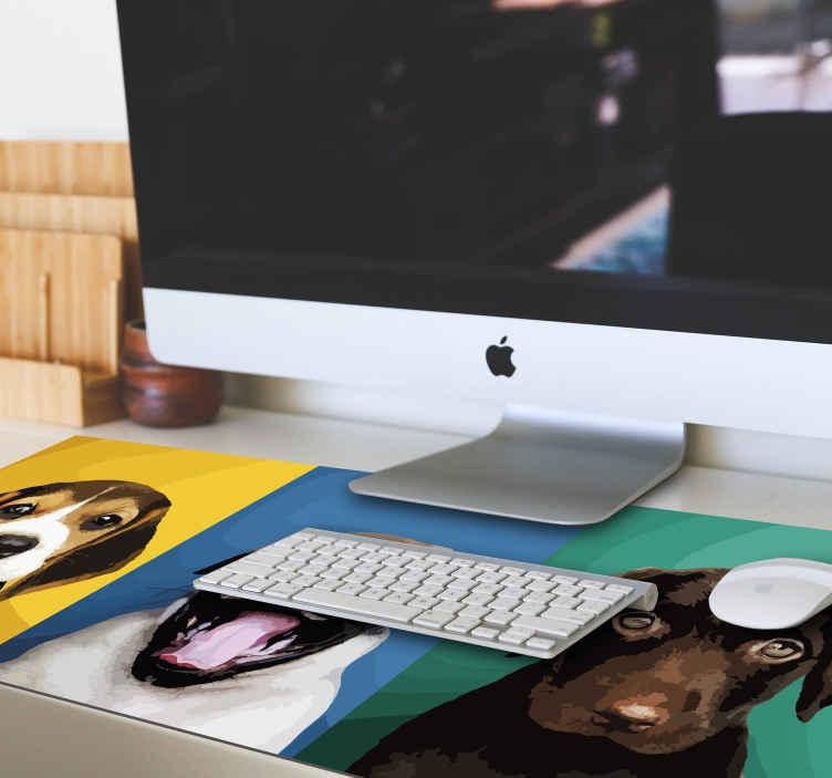 TenStickers. Perros оригинальный коврик для мыши. коврик для мыши-собаки для вашего компьютера, который идеально подходит для любого любителя животных. Нескользящие для идеального опыта, пока вы в сети.