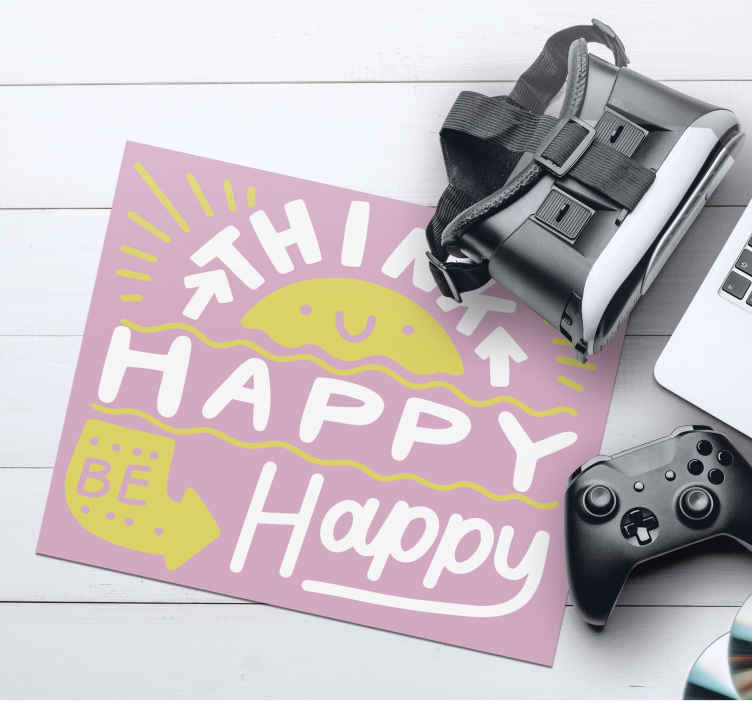 TenStickers. Think positive mouse pad with quotes. Motivation quote mouse pad quote inscribed with ''Think positive be happy''in a lovely font style  with lovely background colour.