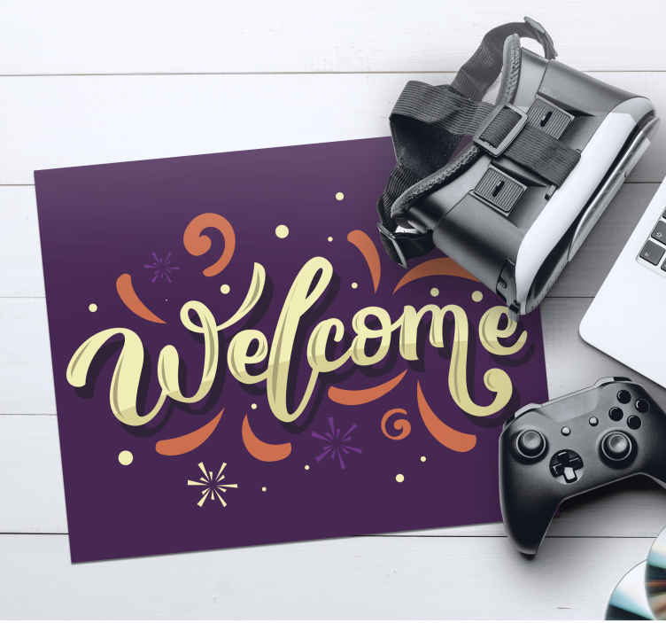 TenStickers. Welcome mouse pad with quotes. Lovely vinyl quote mouse pad design with inscribed ''welcome'' featured  with it amazing ornamental background. It is made from high quality material.