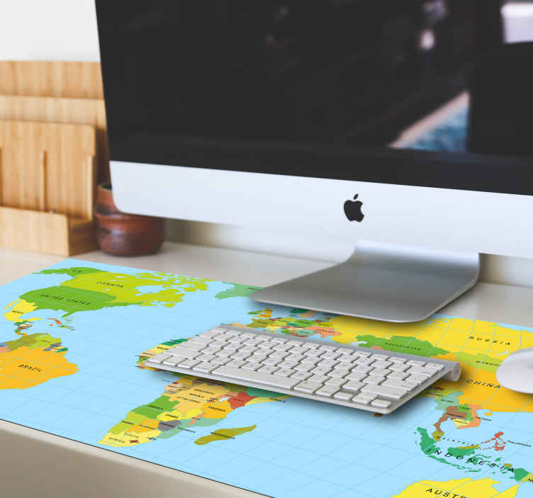 TenStickers. Politics world map vinyl mouse pad. An amazing political world map mouse map design designed in multicolored pattern  with different names of continents and countries.