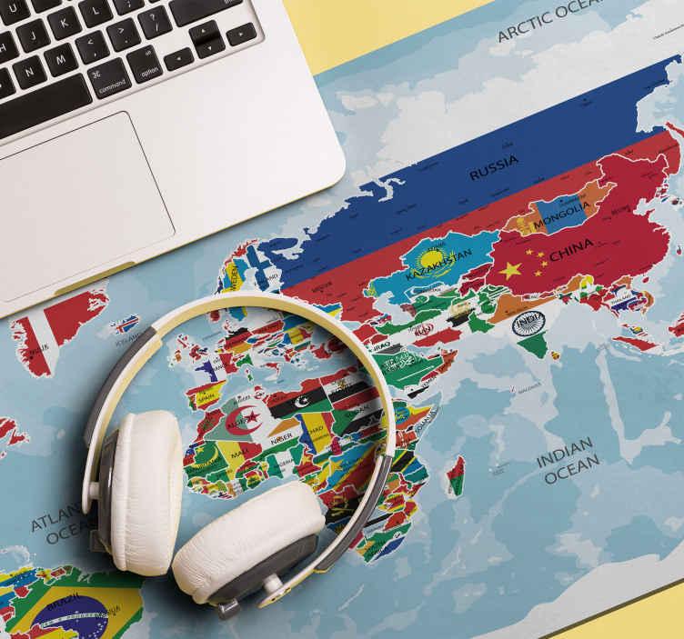 TenStickers. 标记世界地图乙烯基鼠标垫. 一张令人惊叹的世界地图鼠标地图,其每个国家/地区的位置均以其国旗色表示。它易于维护,并且尺寸适中。