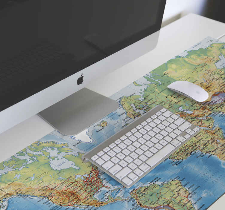 TenStickers. Physical world map world map vinyl mouse pad. World map mouse mat design that you would certainly love for your computer mouse space. It is available in different sizes and made of high quality.