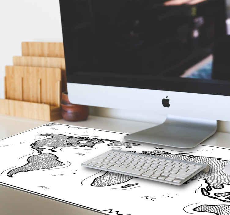 TenStickers. Mauspad Weltkarte Relief Weltkarte. Ein fantastisches Weltkarten-Mauspad, das auf einem weißen Hintergrund mit Merkmalen der karte im schönen Stil entworfen wurde. Es ist pflegeleicht und von guter Qualität.