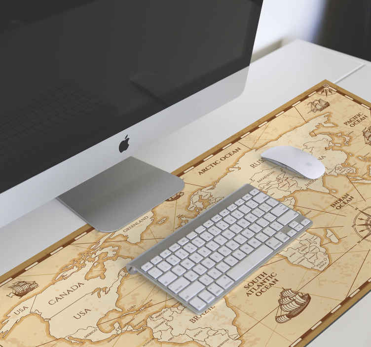 TenStickers. World map vintage world map vinyl mouse pad. An original mouse pad designed in vintage style with the feature of a world map displaying different continents with nautical features.