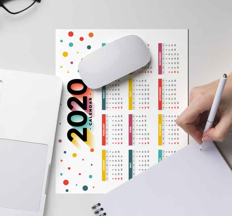 TenStickers. Calendar original vinyl mouse pad. An original mouse pad with 2020 colorful calendar design. It is available in different sizes and made from high quality material.