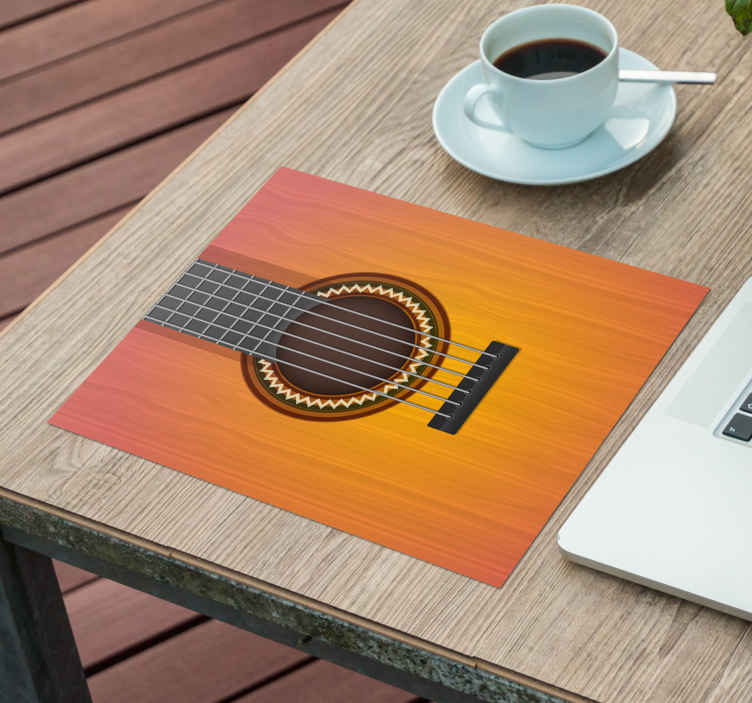 TenStickers. Mouse pad originale Chitarra. Un tappetino per mouse originale con un design e una forma di chitarra. è molto bello e disponibile in diverse dimensioni. Facile da usare e mantenere.