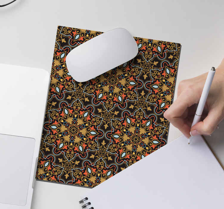 TenStickers. Persian pattern original vinyl mouse pad. Beautiful mouse mat design for your mouse use with the design of Persian pattern in colorful style. It is original and easy to maintain.