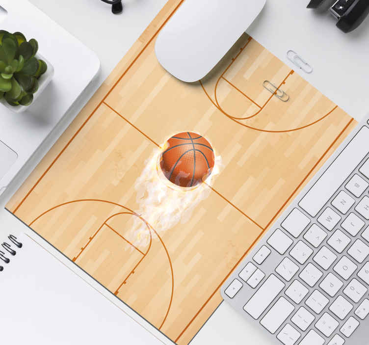 TenStickers. Basketball court original vinyl mouse pad. A mouse mat with a basketball court design with a ball. It is available in different sizes, made of high quality, easy to use and maintain.