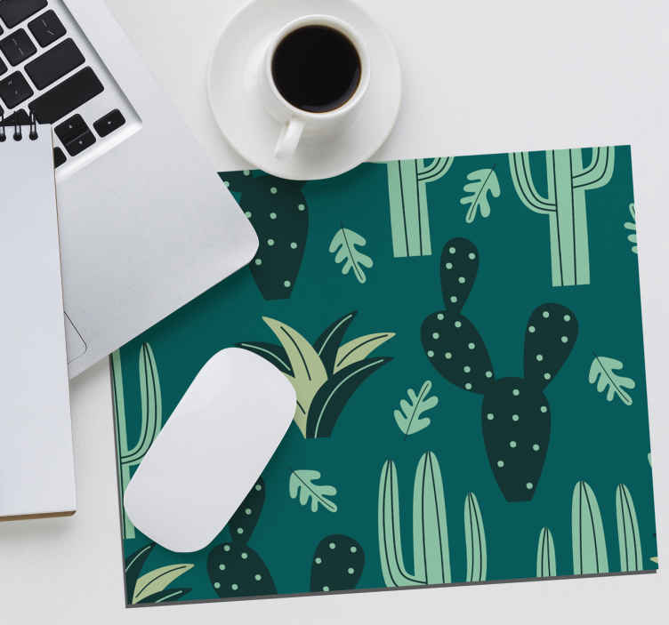 TenStickers. Cactus mouse pad with patterns. A cactus plant patterned mouse pad created on a green background.  It is original, made from high quality material and easy to maintain.