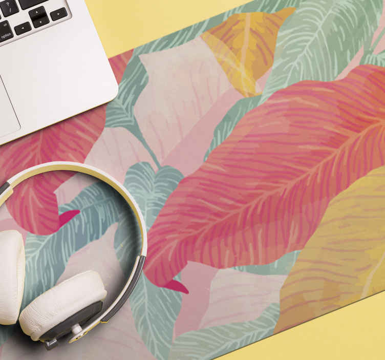 TenStickers. Flowers mouse pad with patterns. An amazing mouse pad design with different colours of  leave design. It is original and made of high quality material. Easy to maintain and use.