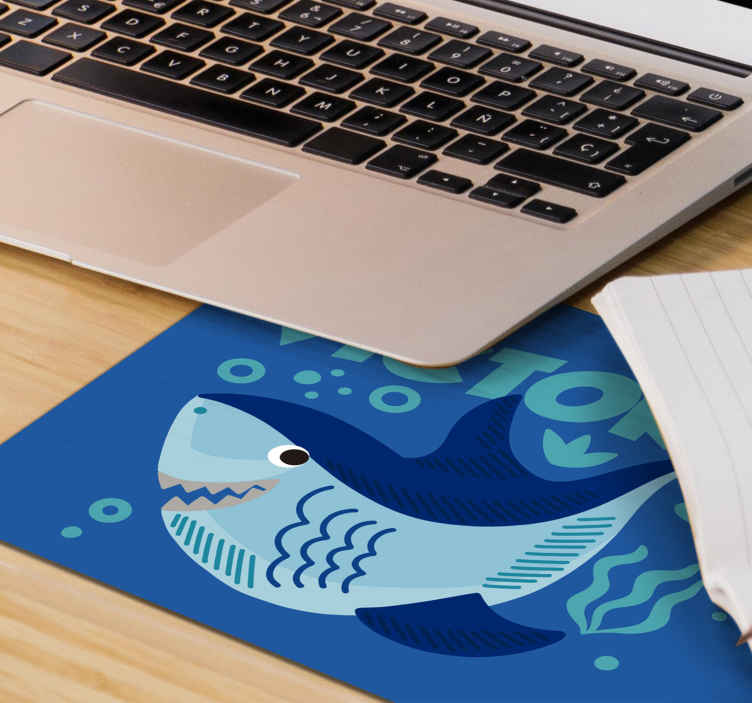 TenStickers. Baby Shark with name personalised vinyl mouse pad. Customize your own text in our original mouse pad with baby shark designed on a blue sea background. It is really  friendly to use.