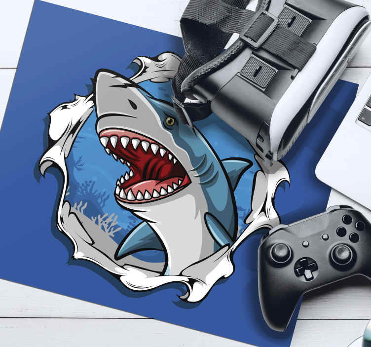 TenStickers. Big shark 3D fish mouse mat. A 3D shark fish mouse pad  product made of high quality material and it is durable and long lasting.  It is available in different size options.