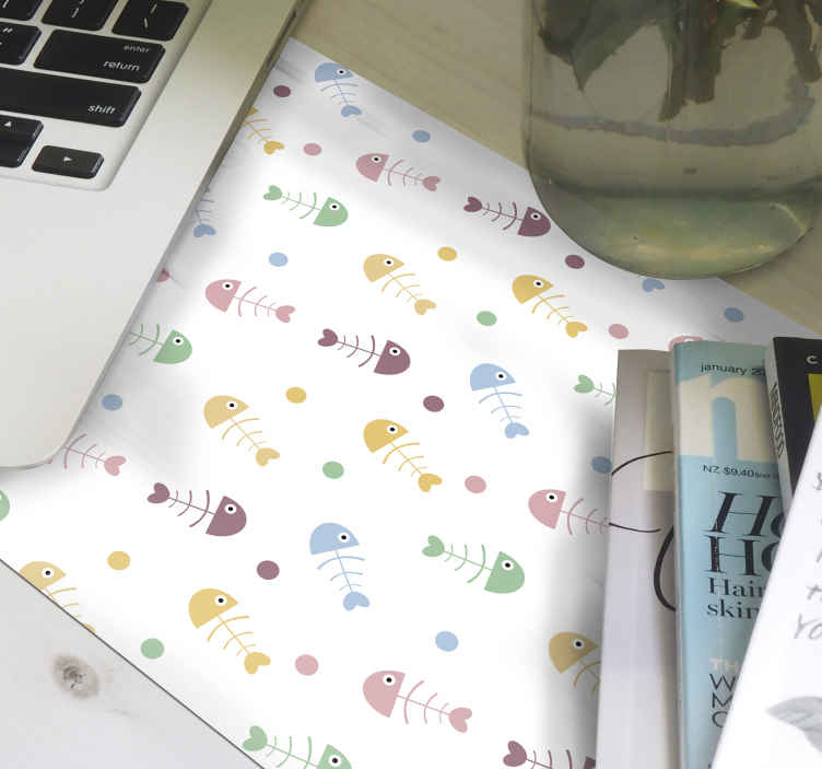 TenStickers. Fishbones fish mouse mat. Are you looking for a mouse mat with simple patterns? then, our original and high quality  fishbone pattern mouse pad is yours for a keep.