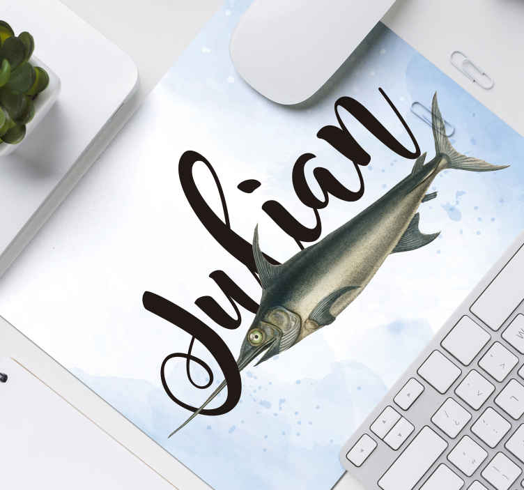 TenStickers. Swordfish with name personalised vinyl mouse pad. Personalise your name or any text of desire on our original fish mouse pad made from the best of quality material. It is easy to use and washable.