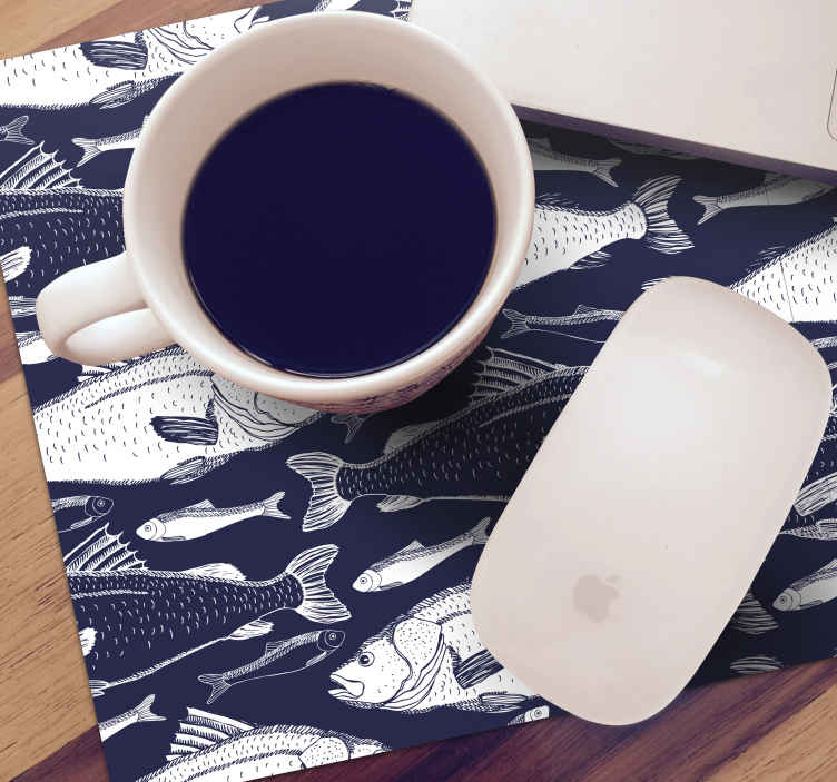 TenStickers. Under sea fishes fish mouse mat. Mouse pad with fish patterns for your mouse.  This lovely product will beautify your working space and also protect the table from scratch and stains.