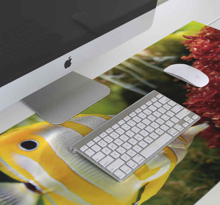 TenStickers. White and yellow fish mouse mat. Fish vinyl mouse pad to nicely lay your mouse as you work on the computer. The  product has a nice surface finish that makes it easy to use a mouse.