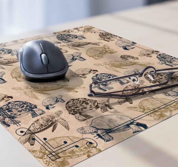 Tenstickers. Kilpikonnat beige tausta kilpikonna hiiri matto. Osta trendikäs hiirimatto, joka on suunniteltu helppokäyttöiseen pintakäsittelyyn ja kilpikonnien muotoilu beigellä taustan tekstuurilla.