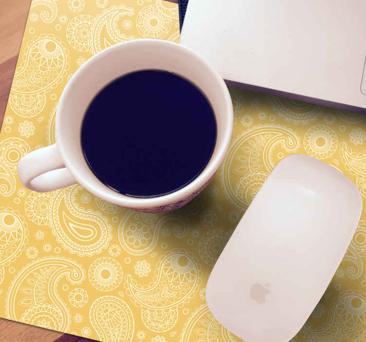 TenStickers. Arabic Paisley paisley mouse mat. Quality mouse mat with paisley design to enjoy an easy and friendly movement of mouse on a computer. It is made with high quality material.