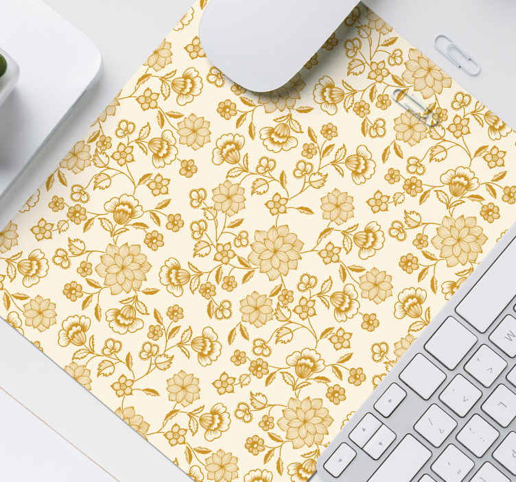 TenStickers. Floral flock paisley paisley mouse mat. An amazing trendy mouse pad with lovely design of paisley in golden colour. It is easy to maintain and the quality is the best in the market.