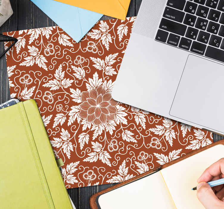 TenStickers. Floral paisley tile paisley mouse mat. Modern mouse mat for your mouse surface.  Enjoy our high quality texture mouse pad made with ornamental design of paisley.