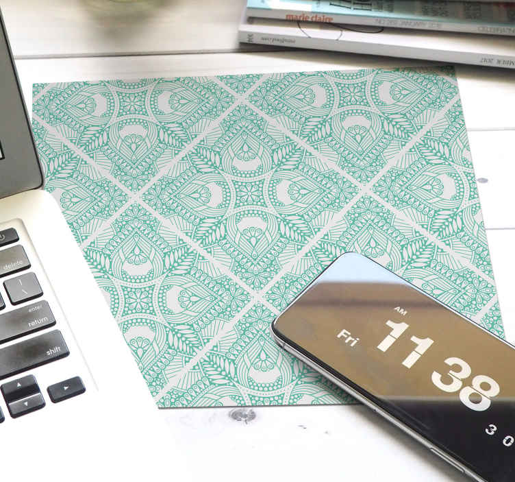TenStickers. Ornamental draw tile paisley mouse mat.  Ornamental draw tile paisley mouse pad to place on desktop table space for  mouse use. It is made with high quality material and easy to maintain.