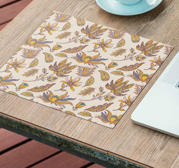 TenStickers. Paisley Flower Set paisley mouse mat. A lovely flower mouse mat to enjoy the use of your mouse without difficulty.  The texture is amazing, this create an easy and free movement of mouse.