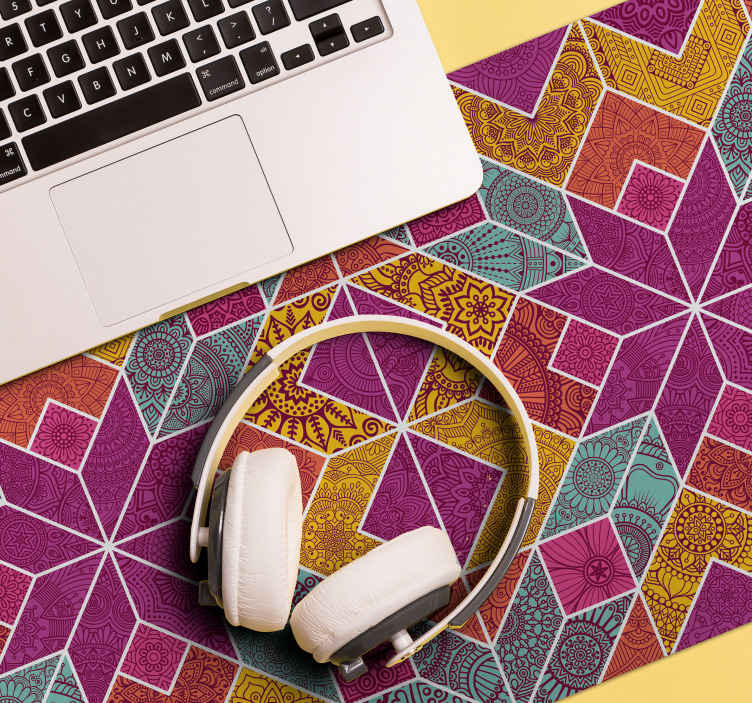 TenStickers. Paisley mosaic paisley mouse mat. A lovely and original trendy mouse pad with mosaic design in geometric patterns. The product is made with high quality material.