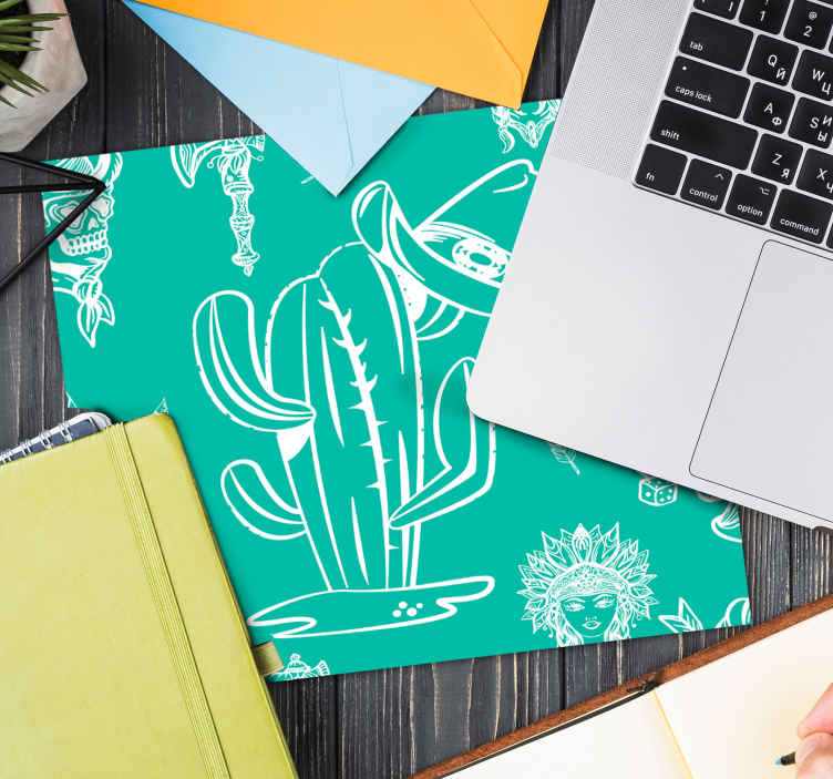 TenStickers. Cactus and hat western pattern mouse pad. Green background mouse-mat design featured with cactus plant, deadhead and more. It is made of great quality and easy and smooth for mouse use.