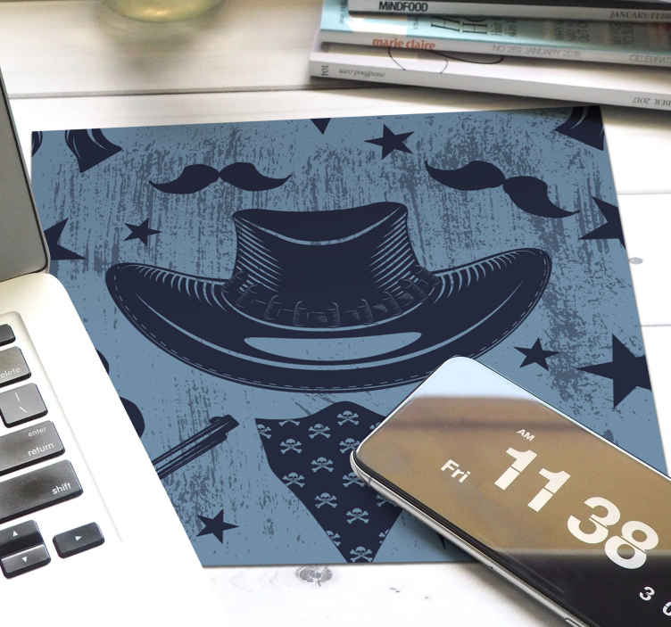 TenStickers. Cowboy hat, bandada and revolvers mouse pad. Cowboy featured mouse mat design created on blue background. The design features cowboy's hat, mustache, bandanna, revolver, deadhead, and more.