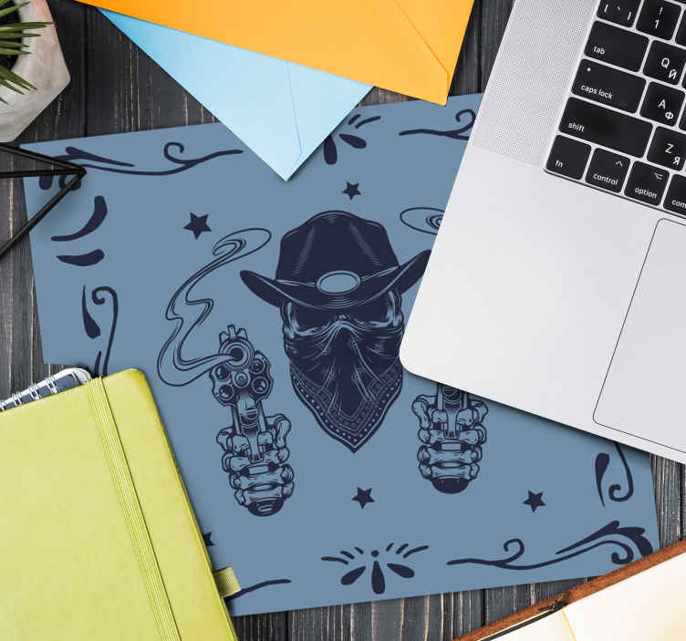 TenStickers. Cowboy Skull and flock mouse pad. Beautiful mouse mat with cowboy's skull design. The product is made of good quality material and very easy to maintain. It is available in sizes.